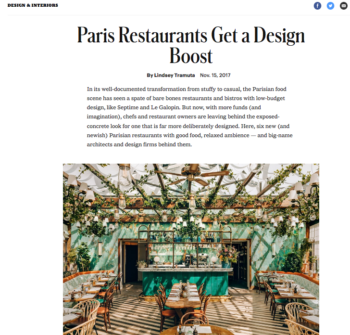 T Magazine – Paris Restaurants get a Design Boost