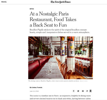 New York Times- The Return of the Bouillon in Paris