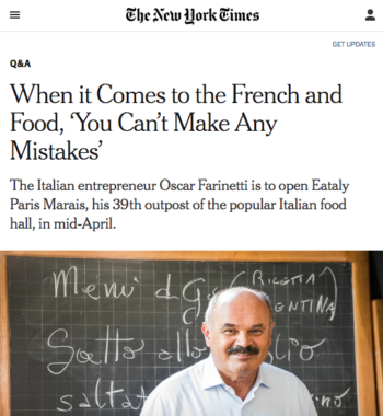 New York Times – Eataly Opens in Paris